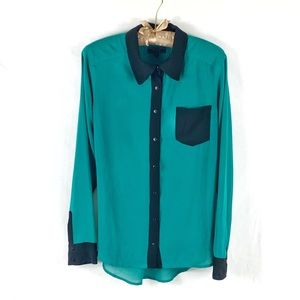 GUESS | Long Sleeve Sheer Color Block Blouse